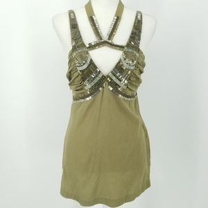 Bebe Olive Silk Tie Halter Blouse with Sequins